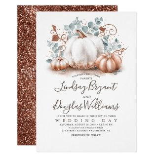 Rose Gold and White Pumpkins Rustic Fall Wedding Invitation