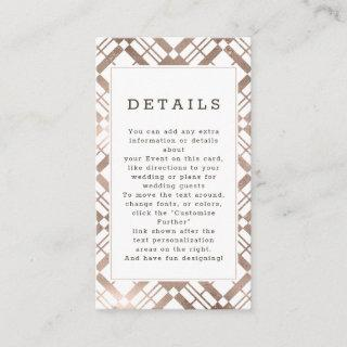 Rose Gold & Any Color Fall Plaid Wedding Details Enclosure Card