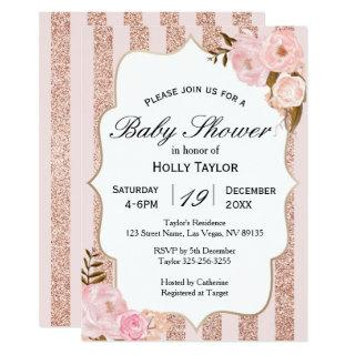 Rose Gold Baby Shower Invitations