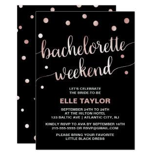 Rose Gold Bachelorette Weekend with Itinerary Invitations