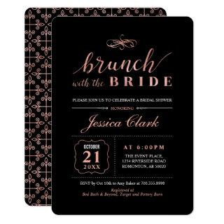 Rose Gold & Black | Elegant Wedding Bridal Brunch Invitations