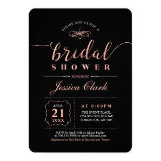 Rose Gold & Black | Elegant Wedding Bridal Shower Invitations