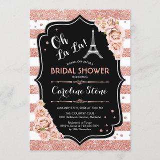 Rose Gold Black French Style Bridal Shower Invitations