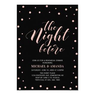 Rose Gold Black Modern Typography Rehearsal Dinner Invitation