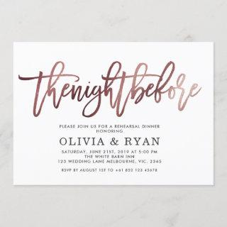 Rose gold black the night before Invitations