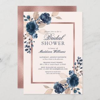 Rose Gold Blue Dusty Pink Floral Bridal Shower Invitations
