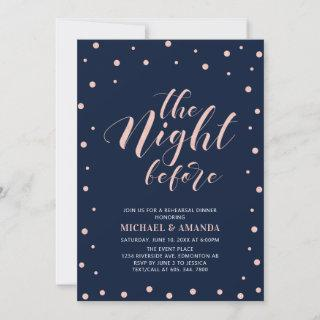 Rose Gold, Blue Modern Typography Rehearsal Dinner Invitations