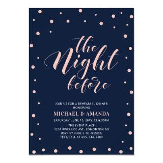 Rose Gold, Blue Modern Typography Rehearsal Dinner Invitation