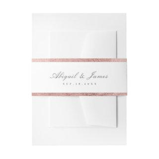 Rose gold border vintage wedding Invitations belly band