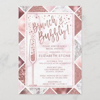 Rose Gold Brunch and Bubbly Invitation, Marble Invitation