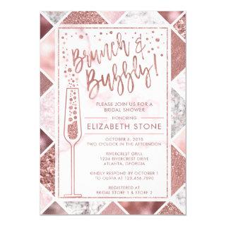 Rose Gold Brunch and Bubbly Invitations, Marble Invitations