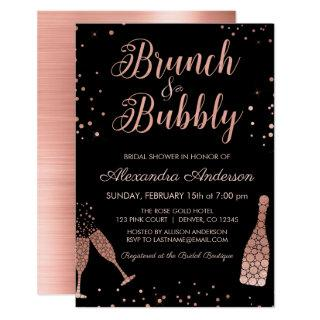 Rose Gold Brunch & Bubbly Bridal Shower Invitation