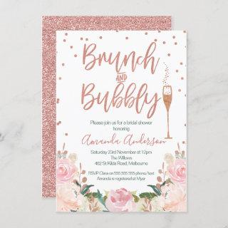 Rose Gold Brunch Bubbly Bridal Shower Invitations