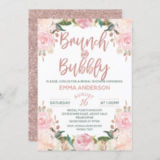 Rose Gold Brunch Bubbly Floral Bridal Invitation