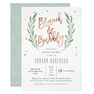 Rose Gold, Brunch & Bubbly, Greenery Bridal Shower Invitation