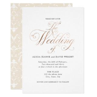 Rose Gold, Calligraphy, Elegant Wedding Invitation