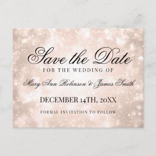 Rose Gold Champagne Bokeh Elegant Save The Date Announcement Postcard