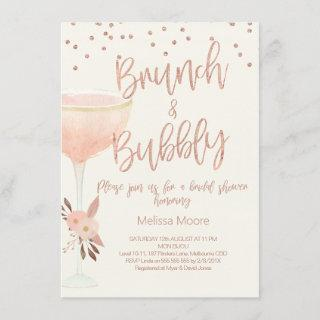 Rose Gold Champagne Glass Bridal Shower Invitations