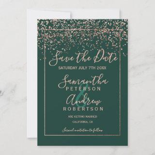 Rose gold confetti green save the date wedding