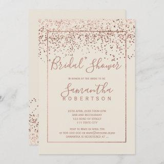 Rose gold confetti ivory script bridal shower Invitations