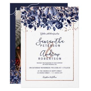 Rose gold confetti navy blue floral photo wedding invitation