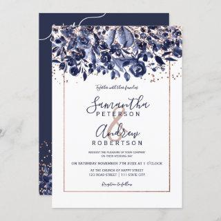 Rose gold confetti navy blue floral photo wedding Invitations