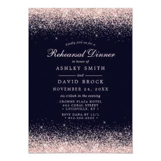Rose Gold Confetti Navy Blue Modern Rehearsal Invitations