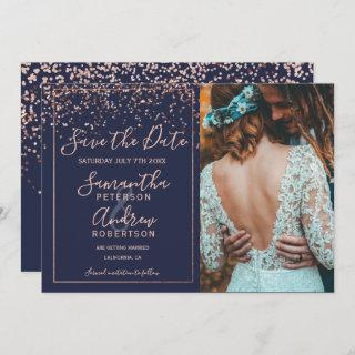 Rose gold confetti navy blue save the date photo