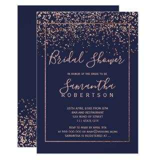 Rose gold confetti navy blue script bridal shower invitation