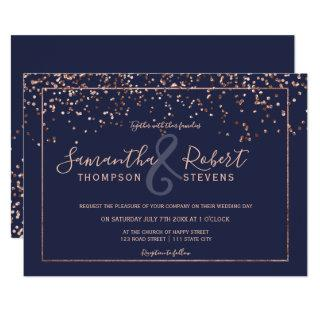 Rose gold confetti navy blue script chic wedding Invitations
