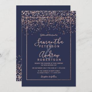 Rose gold confetti navy blue typography wedding Invitations
