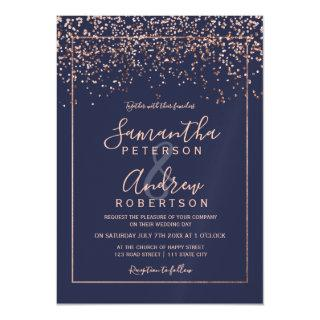 Rose gold confetti navy blue typography wedding magnetic Invitations
