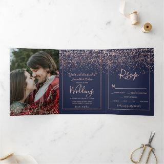Rose gold confetti navy blue typography wedding Tri-Fold invitation