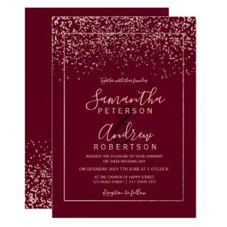 Rose gold confetti red burgundy typography wedding Invitations