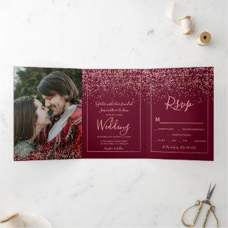 Rose gold confetti red burgundy typography wedding Tri-Fold Invitations