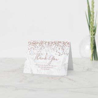 Rose gold confetti white marble script thank you card