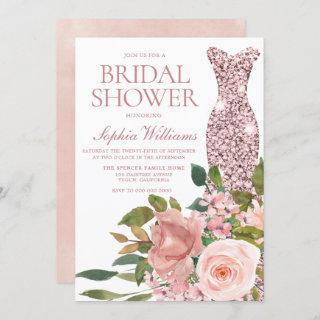 Rose Gold Dress & Blush Pink Flowers Bridal Shower Invitations