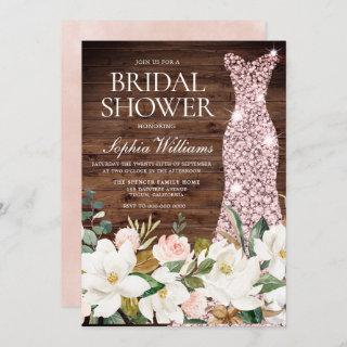Rose Gold Dress Blush White Rustic Bridal Shower Invitations