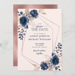 Rose Gold Dusty Pink Navy Floral Save the Date