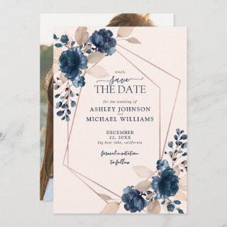 Rose Gold Dusty Pink Navy Photo Save the Date