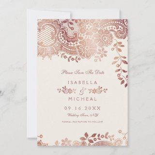 Rose gold elegant lace wedding save the date