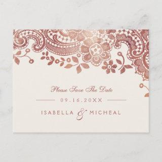 Rose gold elegant lace wedding save the date announcement postcard