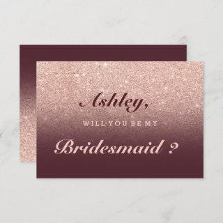 Rose gold faux glitter burgundy be my bridesmaid Invitations