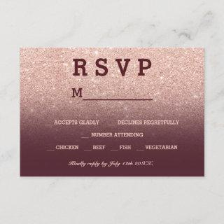 Rose gold faux glitter burgundy ombre RSVP wedding