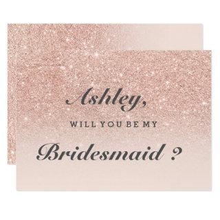 Rose gold faux glitter pink ombre be my bridesmaid invitation