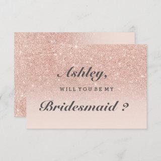 Rose gold faux glitter pink ombre be my bridesmaid Invitations