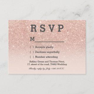 Rose gold faux glitter pink ombre RSVP wedding