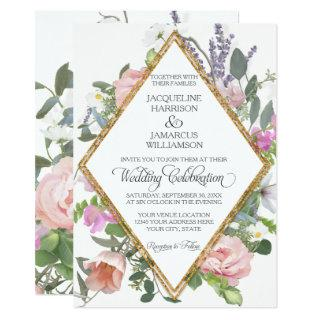 Rose Gold Faux Glitter Romantic Painted Floral Art Invitation