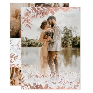 Rose gold floral marble script 5 photos wedding Invitations