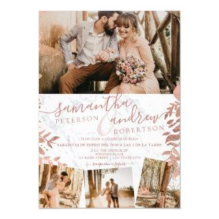 Rose gold floral marble spanish 5 photos wedding Invitations